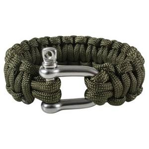 Náramok SURVIVAL PARACORD D-SHACKLE OLIV